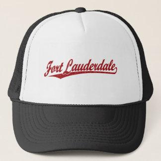 Fort Lauderdale skrivar logotypen i rött Keps