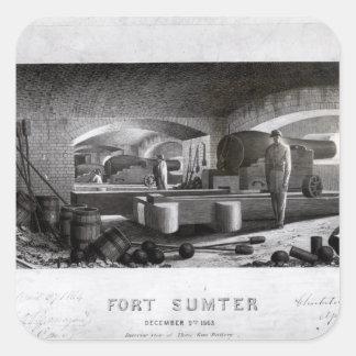Fort Sumter, insida beskådar av batteriet för tre Fyrkantigt Klistermärke