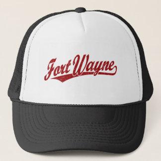 Fort Wayne skrivar logotypen i rött bekymrat Keps