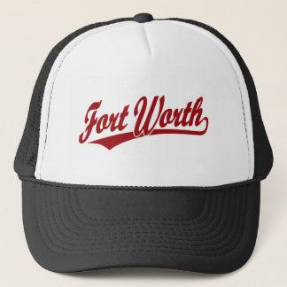 Fort Worth skrivar logotypen i rött Keps