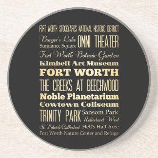 Fort Worth stad av Texas statlig typografikonst Underlägg Sandsten
