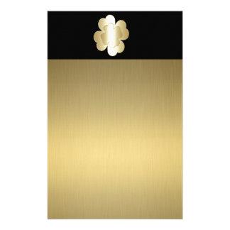 Förtjusande elegant chic guld- lycklig shamrock brevpapper