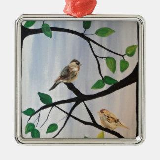 Förtjusande fågelmålning julgransprydnad metall