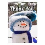 Förtjusande handgjort snögubbetackkort hälsnings kort