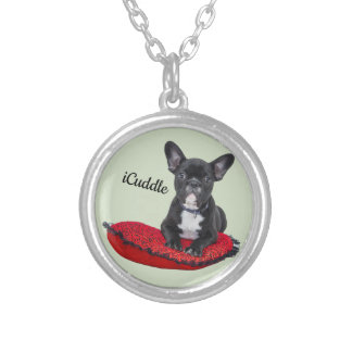 Förtjusande iCuddlefranskbulldogg Silverpläterat Halsband
