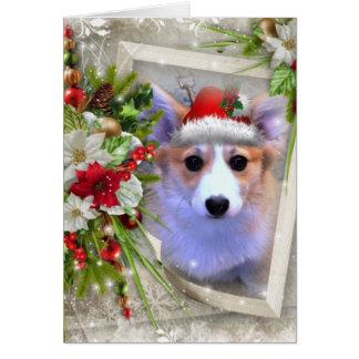 Förtjusande julCorgivalp med vitramen Hälsningskort