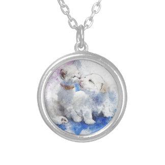 Förtjusande kattunge- & Labrador valpkyss Silverpläterat Halsband