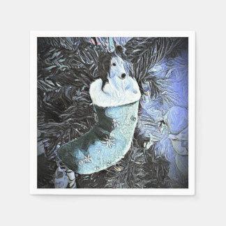 Förtjusande konstnärliga Sheltie i festlig strumpa Papper Servetter