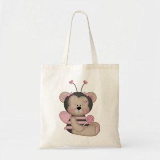 Förtjusande rosa humlabjörn budget tygkasse