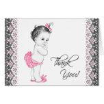 Förtjusande rosa och svart baby showertackkort hälsnings kort
