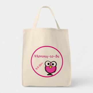Förtjusande rosa ugglamammor som är baby shower mat tygkasse