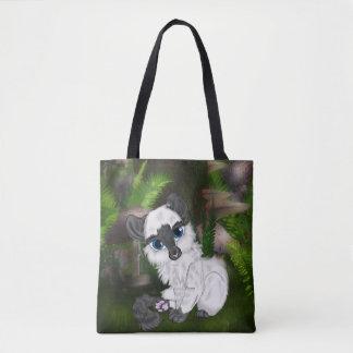 Förtjusande Siamese fluffig kattunge Tygkasse