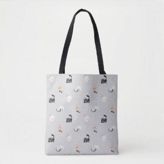Förtjusande svart grå färg | för kattmönster | tygkasse