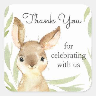 Förtjusande tack för kaninkaninbaby shower fyrkantigt klistermärke