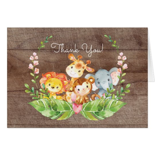 Förtjusande tackkort för Safaridjungelbaby shower OBS Kort