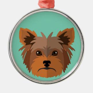 Förtjusande tecknadYorkshire Terrier, Yorkie Julgransprydnad Metall