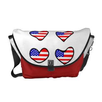 Förtjusande USA flaggahjärtor Kurir Väskor