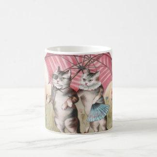 Förtjusande vintagekattmugg - romantiska kattungar vit mugg