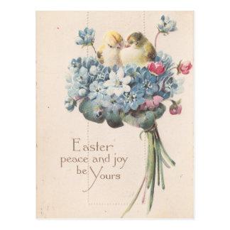Förtjusande vintagepåskfåglar och blommor vykort