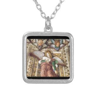 Förtroende - ängel, lamb, cherubs halsband med fyrkantigt hängsmycke