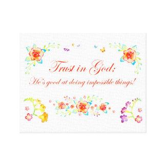 Förtroende i gud canvastryck