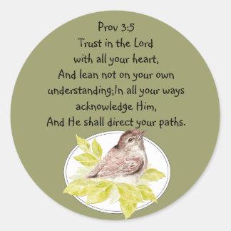 Förtroende i lorden Scripture med vattenfärgfågeln Runt Klistermärke