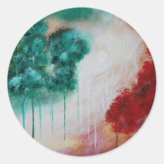 Förtrollad abstrakt konst landskap magra träd runt klistermärke