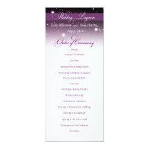 Förtrollad aftonnattbröllopsprogram 10,2 x 23,5 cm inbjudningskort