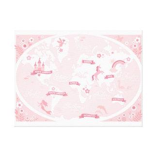 Förtrollad rosa världskarta - barns kanfaskonst canvastryck