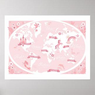 Förtrollad rosa världskarta - barns konst poster