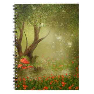 Förtrollad sommardammanteckningsbok anteckningsbok med spiral