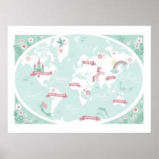 Förtrollad världskarta - barns konst poster