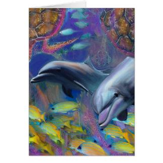 Förtrollade delfiner hälsningskort