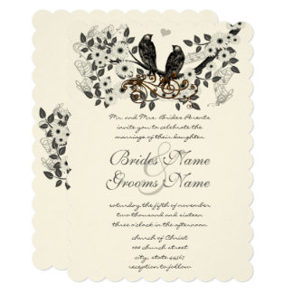 Förtrollat bröllop för skogkärlekfågel 12,7 x 17,8 cm inbjudningskort