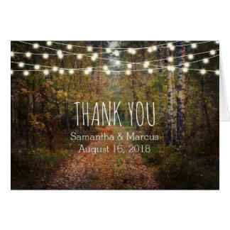 Förtrollat kort för tack för skogvägbröllop