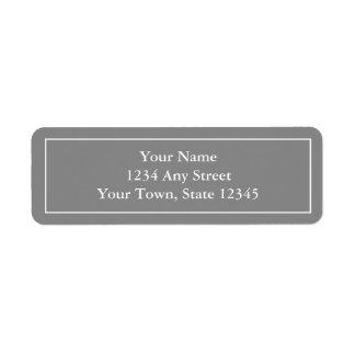Förtryckt gråa klistermärkear för returadress etikett