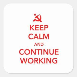 Fortsätta arbetet fyrkantigt klistermärke