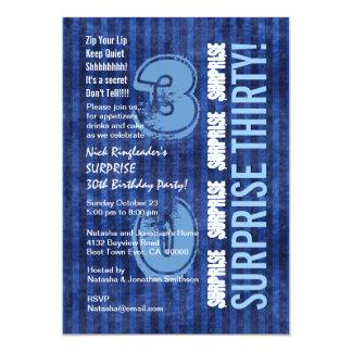 FÖRVÅNA 30th moderna födelsedagblåttrandar W554A 12,7 X 17,8 Cm Inbjudningskort