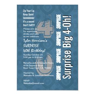 FÖRVÅNA 40th moderna födelsedagblått och vit V13 12,7 X 17,8 Cm Inbjudningskort