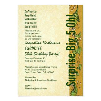 FÖRVÅNA 50th födelsedagguldgrönt B381 12,7 X 17,8 Cm Inbjudningskort
