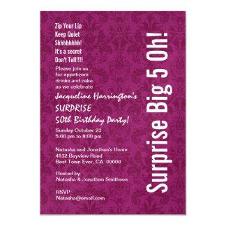FÖRVÅNA den 50th födelsedagen moderna rosa Fuschia 12,7 X 17,8 Cm Inbjudningskort