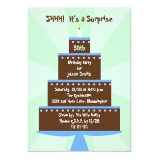 Förvåna den 50th födelsedagsfest inbjudantårtan 12,7 x 17,8 cm inbjudningskort