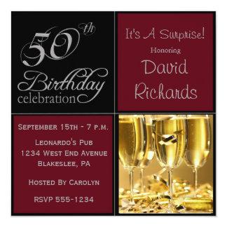 Förvåna den 50th födelsedagsfesten Burgundy & Fyrkantigt 13,3 Cm Inbjudningskort