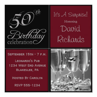 Förvåna den 50th födelsedagsfesten Burgundy & Anpassade Inbjudningskort