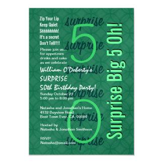 FÖRVÅNA den 50th moderna födelsedagen Kelly grön 12,7 X 17,8 Cm Inbjudningskort