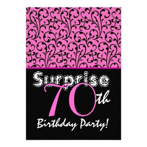 FÖRVÅNA den 70th rosa och svart födelsedagsfesten  Skräddarsydda Inbjudan
