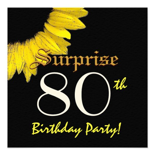 FÖRVÅNA den gula solrosen för den 80th födelsedags Personliga Inbjudan