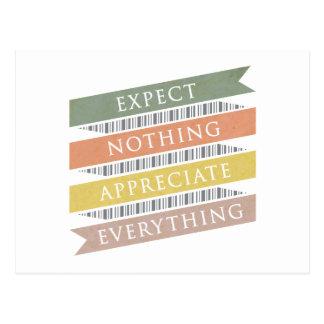 Förvänta att ingenting uppskattar allt vykort