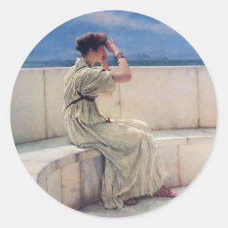 Förväntningar av Lawrence Alma Tadema Runt Klistermärke