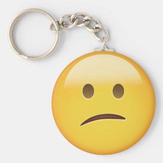 Förvirrat ansikte Emoji Rund Nyckelring